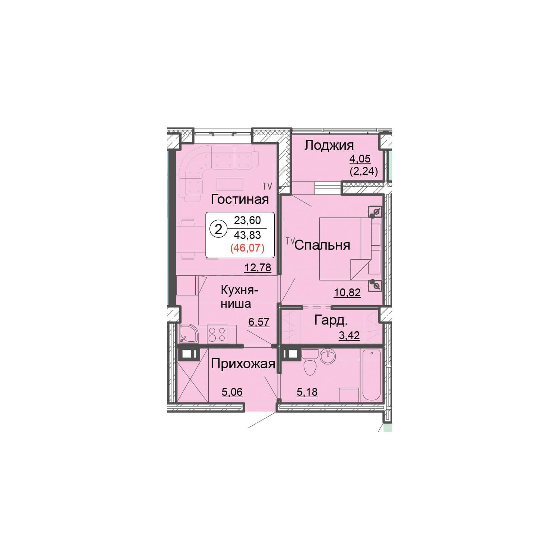 2-комнатная квартира 46.20 м<sup>2</sup>, Дом по ул. Монтажников, 19