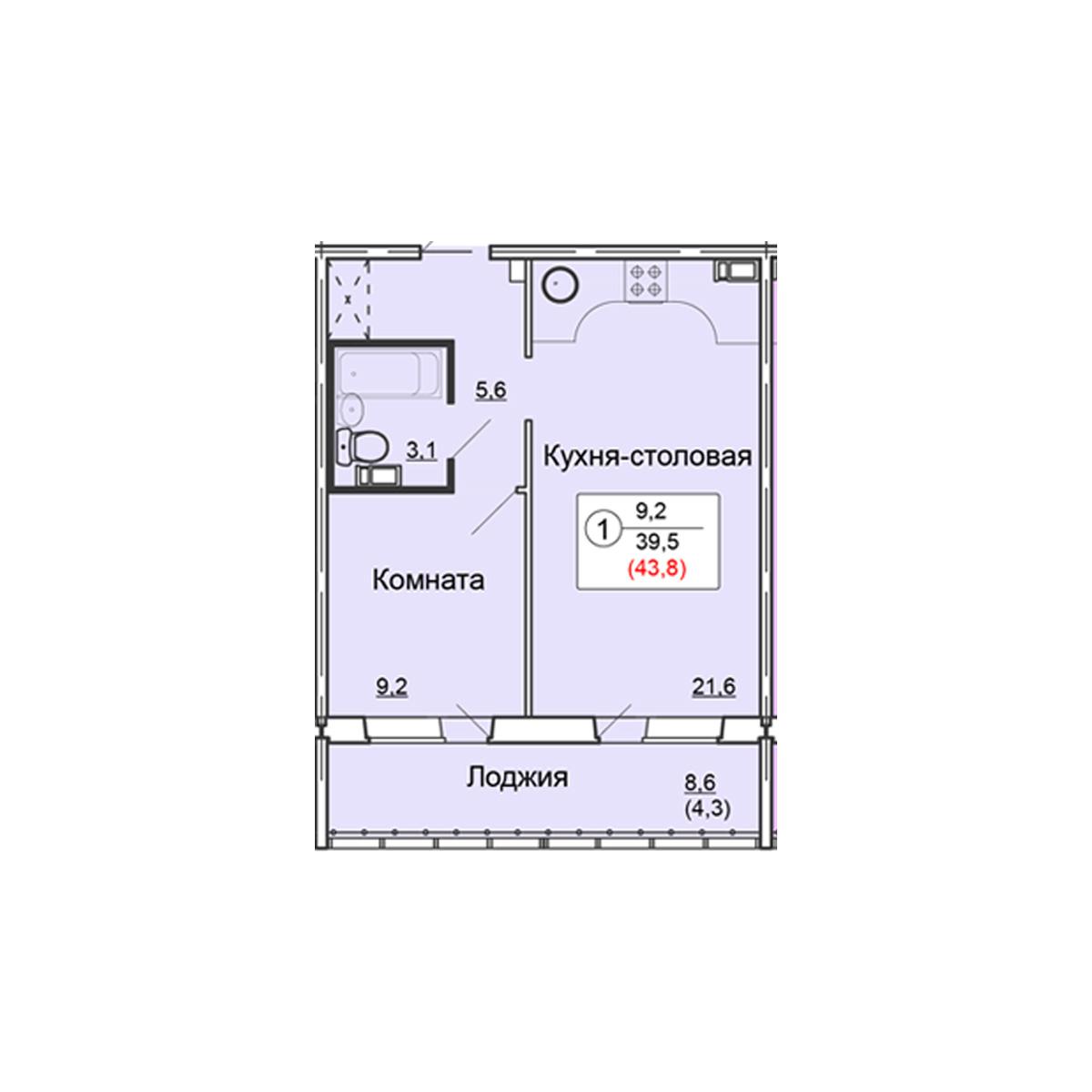 1-комнатная квартира 43.8 м<sup>2</sup>, Дом по ул. Попова, 38