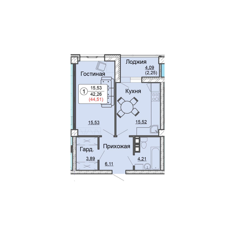 1-комнатная квартира 44.60 м<sup>2</sup>, Дом по ул. Монтажников, 19