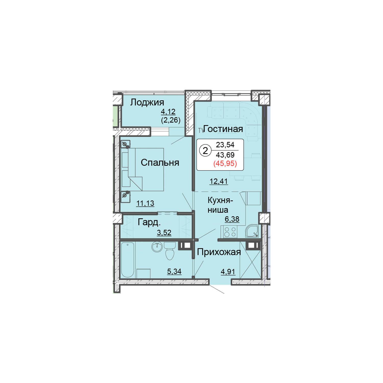 2-комнатная квартира 46.0 м<sup>2</sup>, Дом по ул. Монтажников, 19