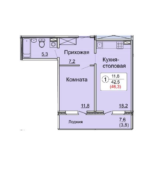 Студия 46.3 м<sup>2</sup>, «Сл. Курочкины», ул. Потребкооперации, 44