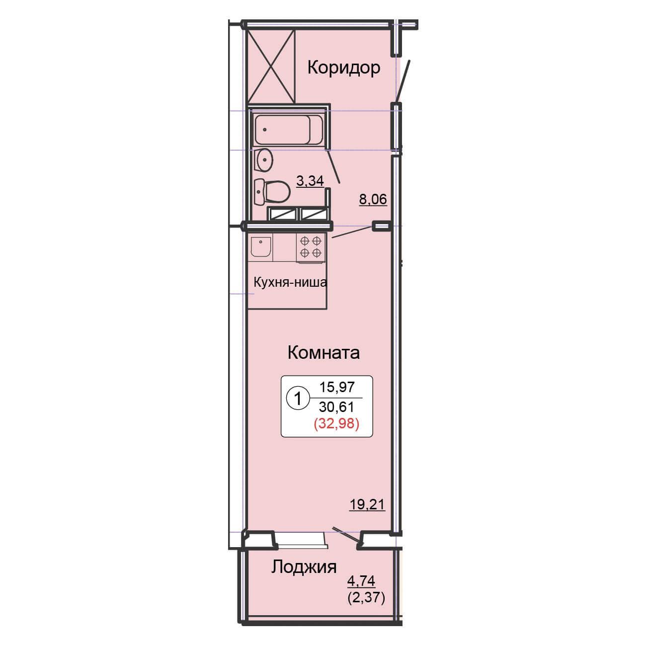 Студия 32.98 м<sup>2</sup>, «Сл. Курочкины», ул. Потребкооперации, 44