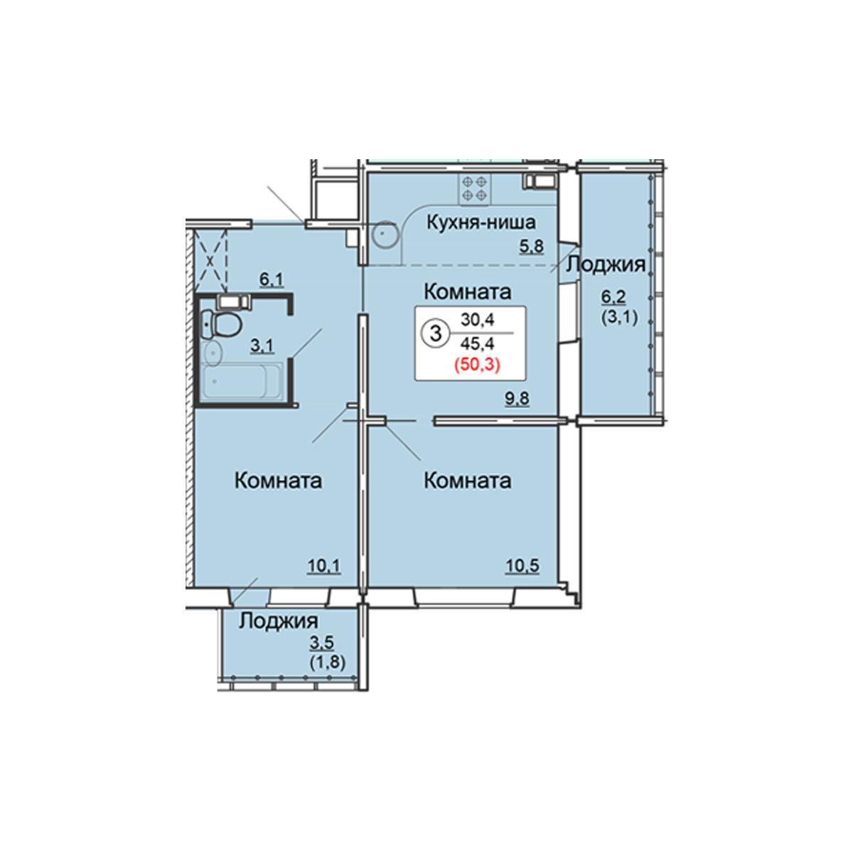 3-комнатная квартира 50.3 м<sup>2</sup>, Дом по ул. Попова, 38