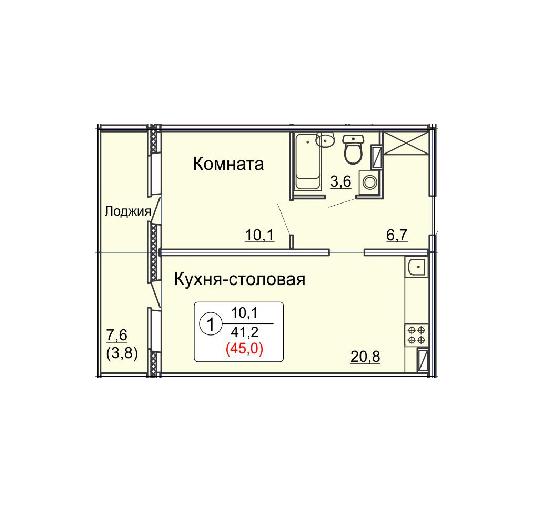 Студия 45.0 м<sup>2</sup>, «Сл. Курочкины», ул. Потребкооперации, 44