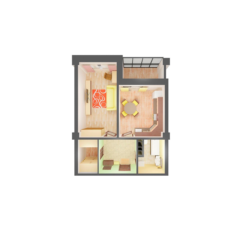 1-комнатная квартира 44.40 м<sup>2</sup>, Дом по ул. Монтажников, 19