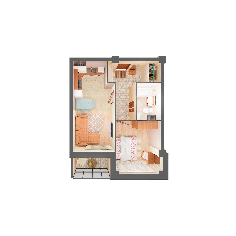 2-комнатная квартира 47.30 м<sup>2</sup>, Дом по ул. Монтажников, 19