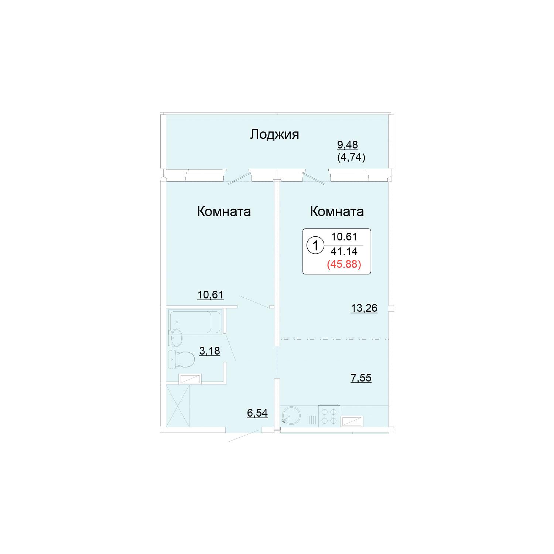Однокомнатная 45.88 м<sup>2</sup>, «Сл. Курочкины», ул. Потребкооперации, 44