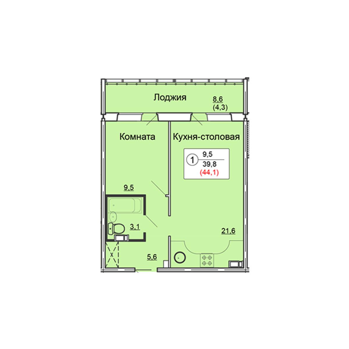 1-комнатная квартира 44.1 м<sup>2</sup>, Дом по ул. Попова, 38