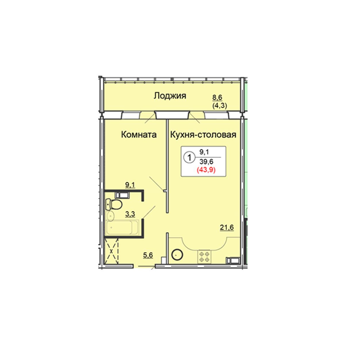 1-комнатная квартира 43.9 м<sup>2</sup>, Дом по ул. Попова, 38