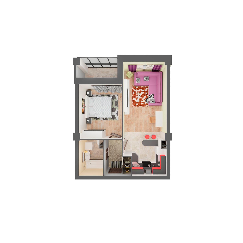 2-комнатная квартира 44.60 м<sup>2</sup>, Дом по ул. Монтажников, 19