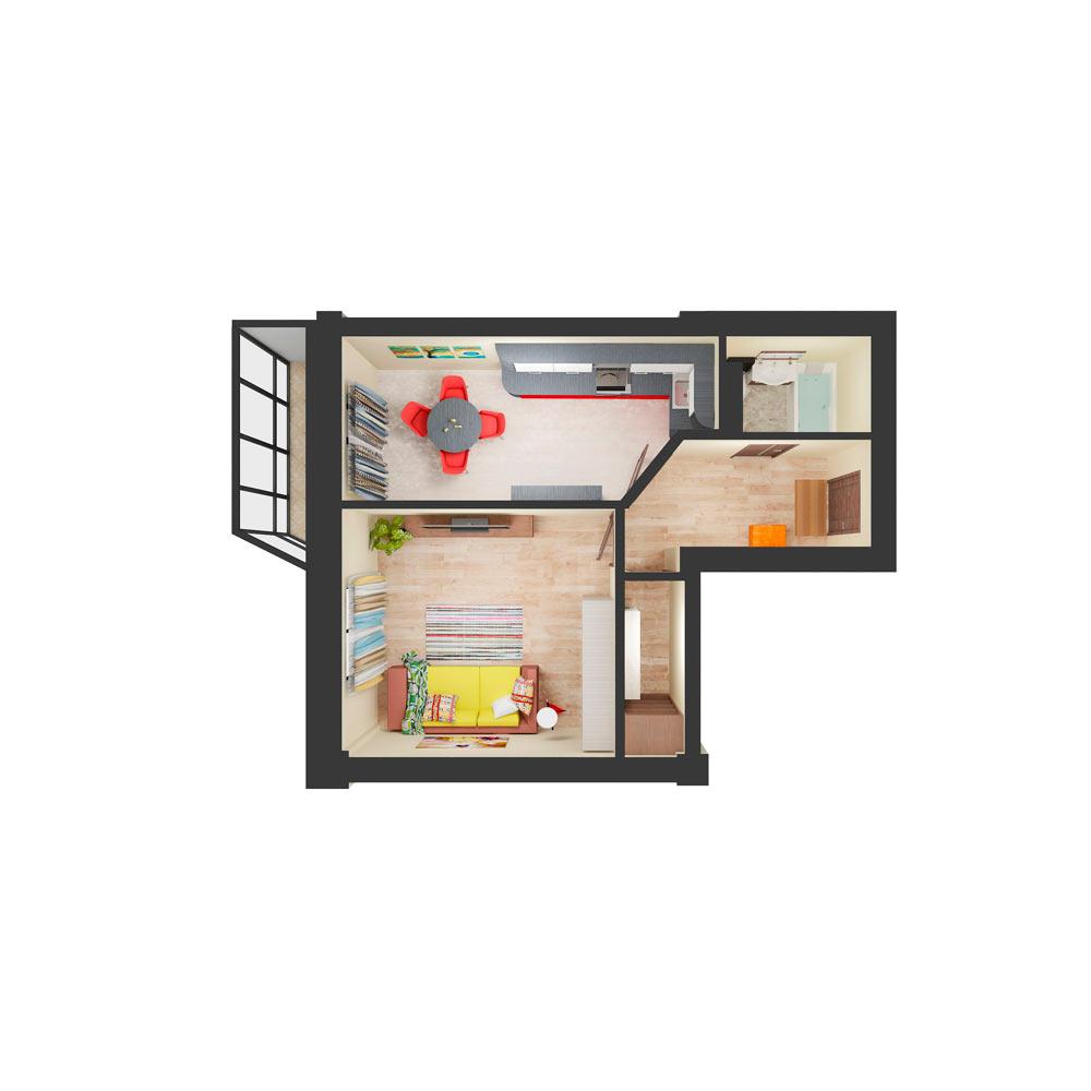 Однокомнатная квартира 48.00 м2, ЖК «Малахит»