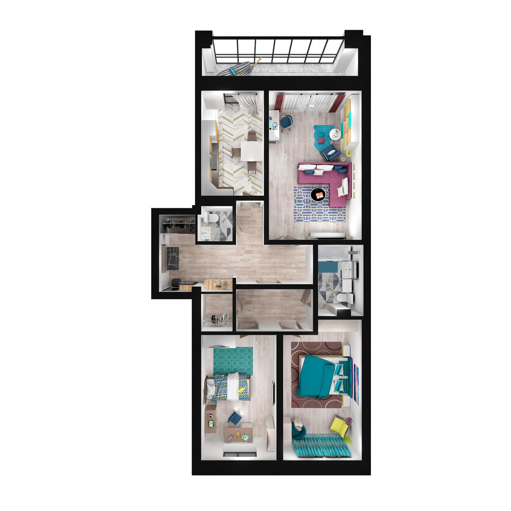 Трёхкомнатная квартира 120.4 м2, ЖК «Алые Паруса»