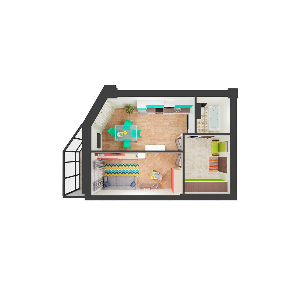 Однокомнатная квартира 49.90 м2, ЖК «Малахит»