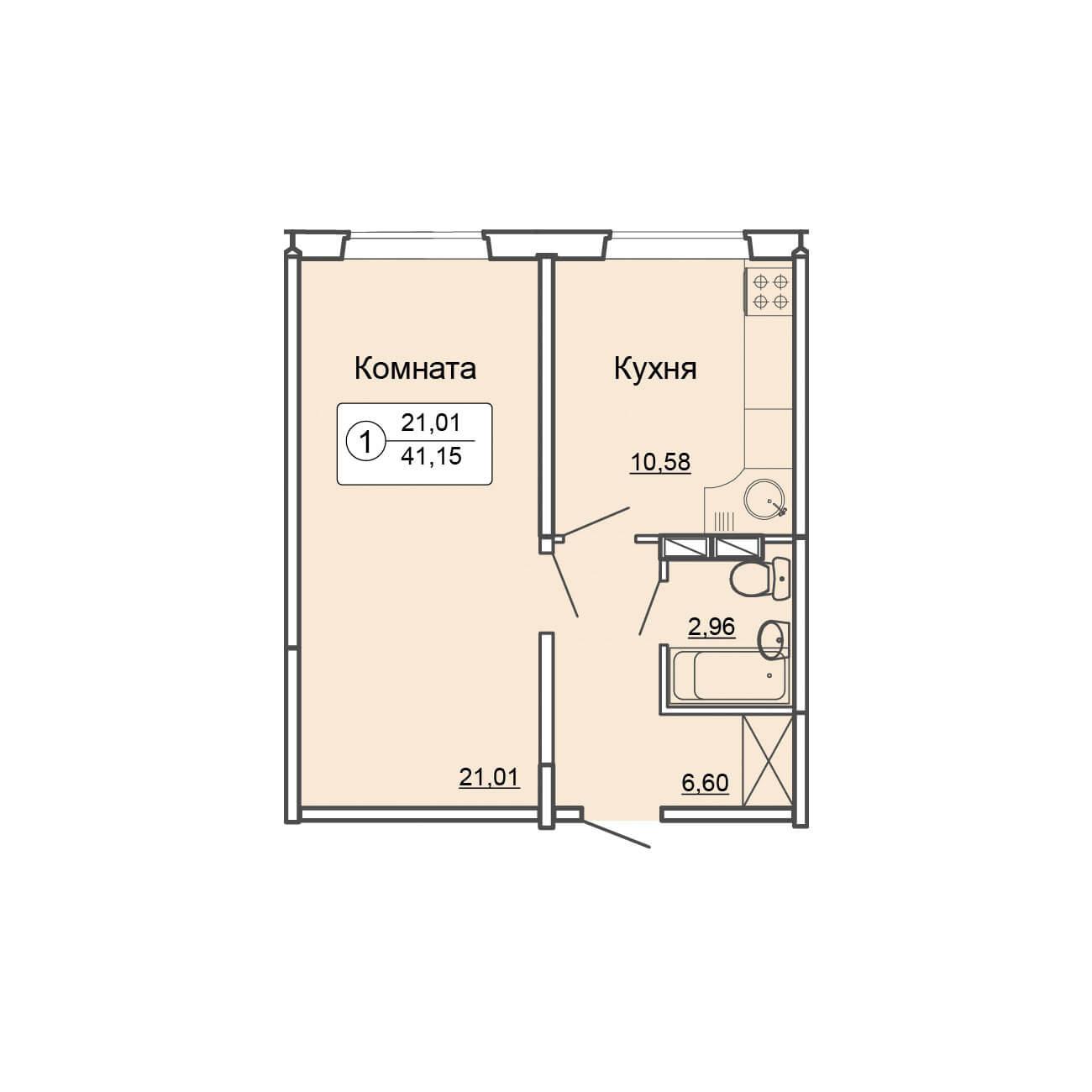 Однокомнатная квартира 41.5 м2, ЖК «Салют», ул.Заводская, 4