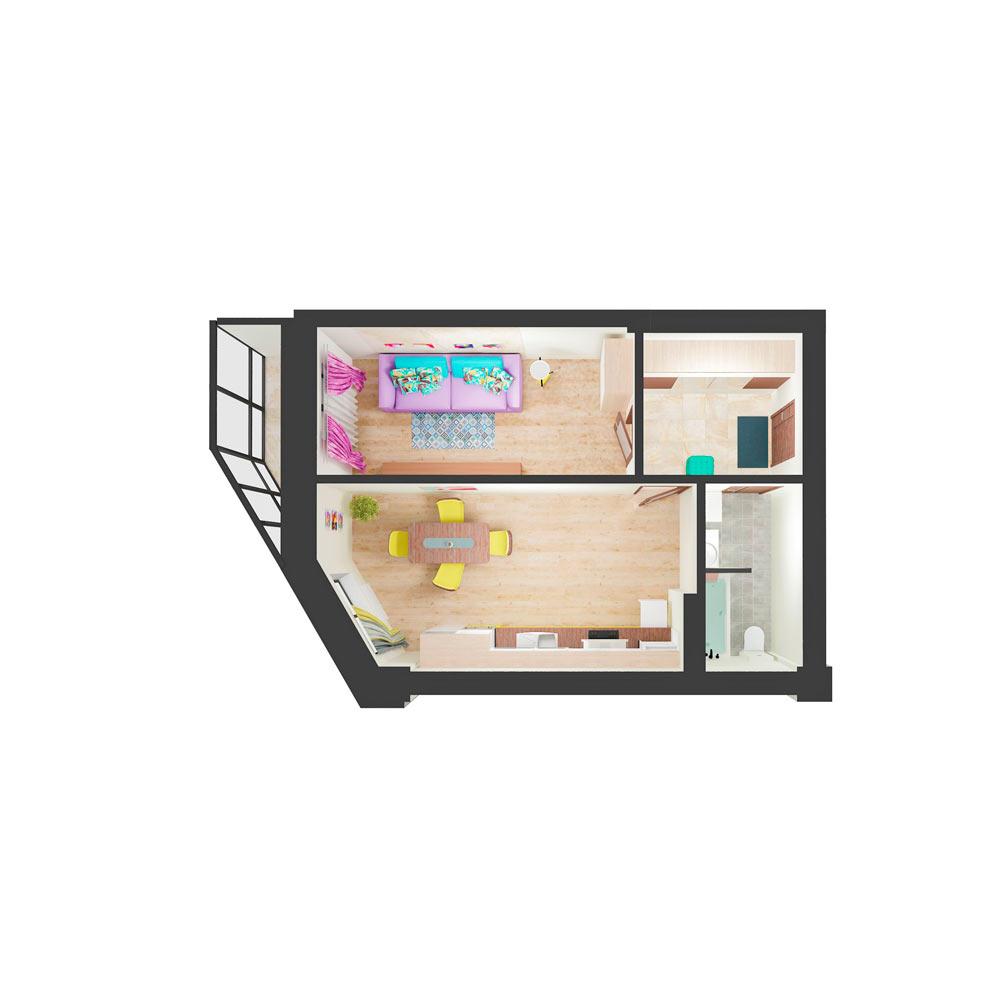 Однокомнатная квартира 50.3 м2, ЖК «Малахит»